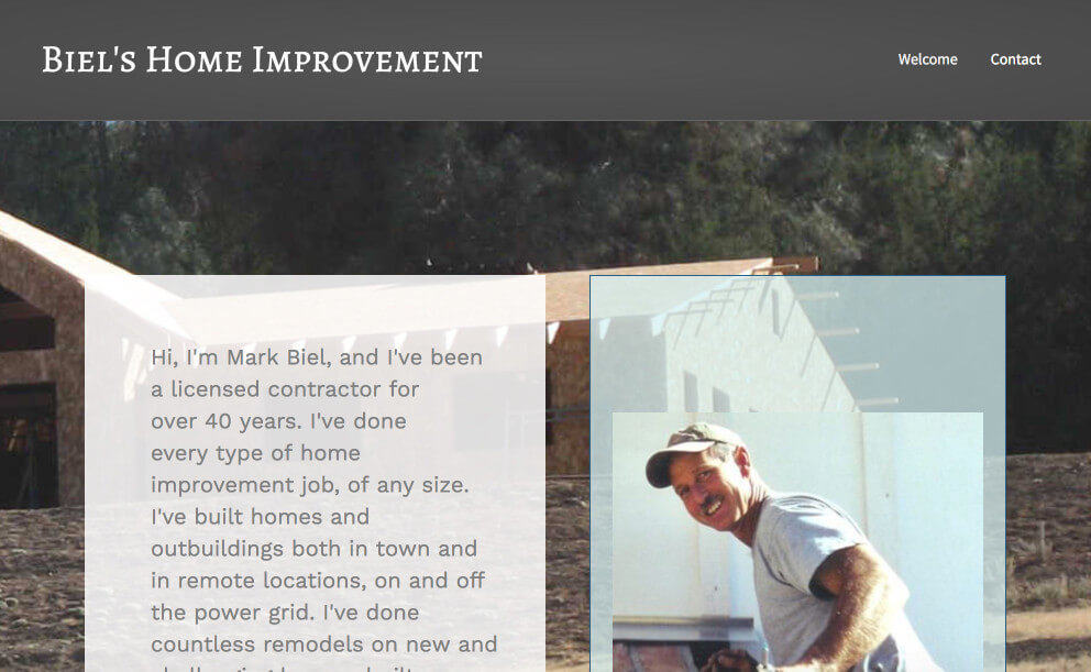 Biel's Home Improvement website screenshot