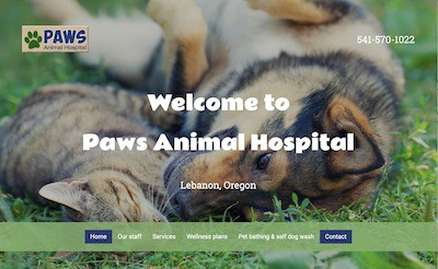 Paws Animal Hospital home page