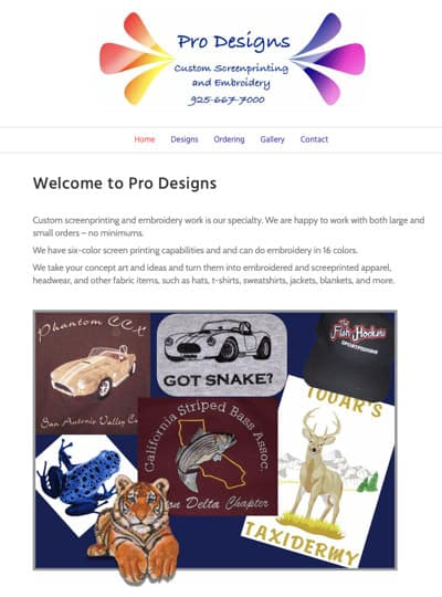 prodesignscreenprinting.com home page